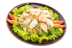 Seafood Spicy noodles salad with thai style Royalty Free Stock Photos