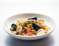 Seafood and spicy puttanesca marinara tomato pasta Stock Photography