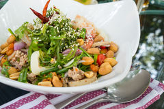 Seafood Spicy Salad on the Table. Fusion menu stock photography