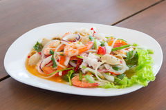 Seafood spicy salad. Thai spicy salad Royalty Free Stock Photography