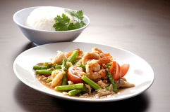 Seafood Spicy Stir-Fry with Rice Stock Photography