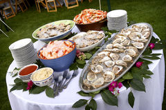 Seafood spread on a table outdoors. Food and table settings - series royalty free stock images