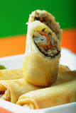 Seafood spring rolls in a plate closeup Stock Photo
