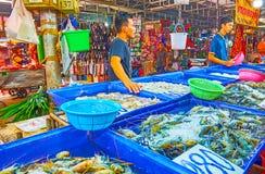 The seafood stall in Talad Saphan Phut market, Bangkok, Thailand