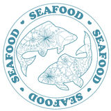 Seafood stamp with fish Royalty Free Stock Image
