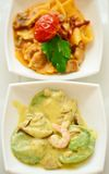 Seafood starter with prawns, Italian ravioli Royalty Free Stock Images