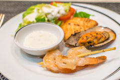 Seafood Steak on white dish Royalty Free Stock Photography