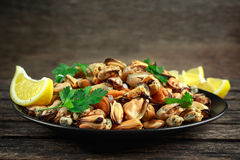 Seafood. Steamed Musseles appetizer with sprinkle of parsley and lemon juce served on black plate. Stock Photography
