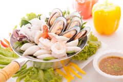 Seafood steamed with thai herb Royalty Free Stock Images