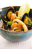 Seafood Stew in Bowl Stock Images