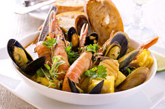 Seafood Stew in Bowl Stock Photo