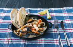 Seafood Stew in Saucepan, italian restaurant cuisine closeup Stock Photo