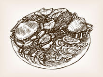 Seafood still life hand drawn sketch style vector Stock Photography
