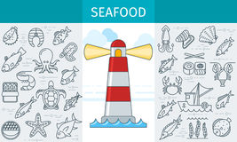 Seafood store banner Royalty Free Stock Photos