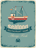 Seafood store with fishing boats Stock Image