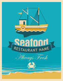 Seafood store with fishing boats Royalty Free Stock Image