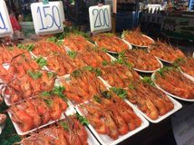 Seafood store. In Pattaya Thailand grilled prawn crab fish any many kind of Stock Image