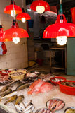 Seafood Store at Street Market in Quarry Bay, Hong Kong. HONG KONG, JULY 5, 2017: A store selling seafood at a street market in Hong Kong`s old residential Royalty Free Stock Image