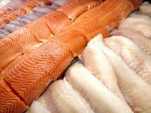 Seafood in the store. View at the salmon fish fillets in the store display case Stock Image