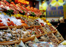 Seafood street market. Outdoor Restaurant of seafood in Brussels street. Fruits de mer Royalty Free Stock Image