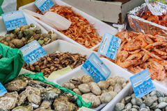 Seafood on street stand - Paris. Royalty Free Stock Photos