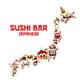 Seafood sushi bar sashimi in Japan vector map Stock Images