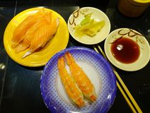 Seafood sushi for dinner at Japanese restaurant stock photography