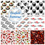 Seafood sushi, fish food seamless vector patterns Royalty Free Stock Photography
