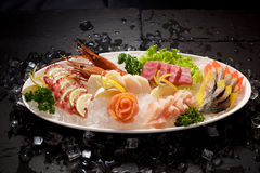 Seafood Sushi plater on slate Royalty Free Stock Image