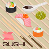 Seafood sushi , roll and chopsticks Royalty Free Stock Image