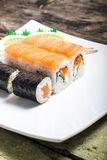 Seafood sushi rolls in white plate with chopsticks Stock Photography