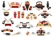 Seafood, sushi, sashimi vector icons and emblems. Sushi rolls, sashimi and seafood emblems. Japanese oriental cuisine food of salmon fish and shrimp, steamed Stock Photos