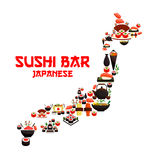 Seafood sushi in shape of vector Japan map. Seafood in Japan map of sushi rolls and salmon sashimi, wok steamed rice with shrimps and miso soup bowl with fish Royalty Free Stock Photo