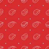 Seafood sushi traditional japanese food set seamless pattern on red background wallpaper in doodle style royalty free illustration