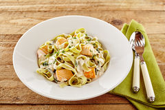 Seafood tagliatelli or fettuccine Italian pasta Royalty Free Stock Photos