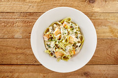 Seafood tagliatelli with salmon fillets Royalty Free Stock Image
