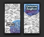 Seafood. template design menu restaurant, diner. hand drawn food Royalty Free Stock Images