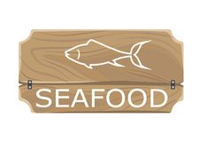 Seafood Template Poster with Fish Sign on Board Royalty Free Stock Photo