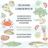 Seafood template Stock Image