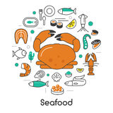 Seafood Thin Line Icons Set with Fish, Shrimp and Crab. Seafood Thin Line Vector Icons Set with Fish, Shrimp and Crab Stock Image