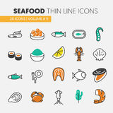 Seafood Thin Line Icons Set with Fish, Shrimp and Crab. Seafood Thin Line Vector Icons Set with Fish, Shrimp and Crab Royalty Free Stock Photo