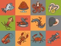 Seafood thin line  icons set. Stock Image