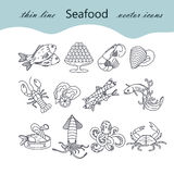 Seafood thin line vector icons set. Stock Photography