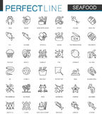 Seafood thin line web icons set. Fish food for restaurant menu outline stroke icons design. Seafood thin line web icons set. Fish food for restaurant menu Royalty Free Stock Photography