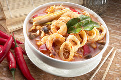 Seafood tomyam noodle soup. A bowl of seafood tomyam noodle soup Royalty Free Stock Photo