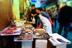Seafood on traditional asian street market. Hong Kong Stock Photo