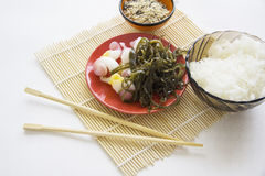 Seafood: trepangs and seaweed Royalty Free Stock Images