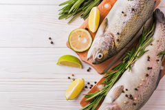 Seafood. Two raw rainbow trouts marinated with lime, rosemary. Seafood. Two raw rainbow trouts marinated with lime, peper, spices and rosemary on wooden board stock photo