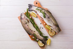 Seafood. Two raw rainbow trouts marinated with lime, rosemary. Seafood. Two raw rainbow trouts marinated with lime, peper, spices and rosemary on wooden board stock images