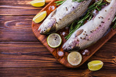 Seafood. Two raw rainbow trouts marinated with lime, rosemary. Seafood. Two raw rainbow trouts marinated with lime, peper, spices and rosemary on wooden board royalty free stock images